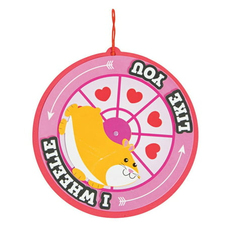 Fun Express - I Wheelie Like You Hamster Wheel Sign ck for Valentine's Day - Craft Kits - Hanging Decor Craft Kits - Sign Decoration Craft Kits - Valentine's Day - 12 Pieces