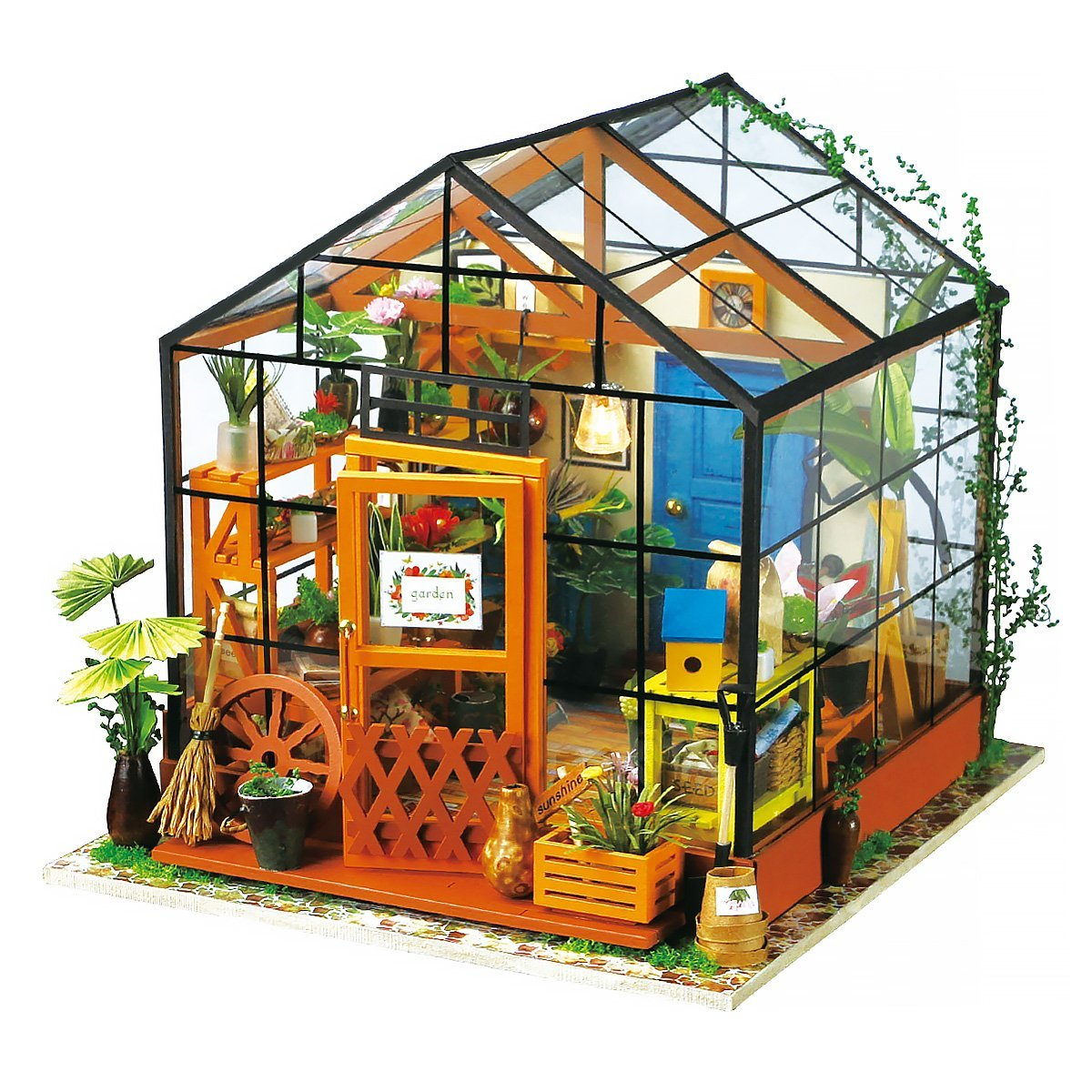 3D Dollhouse Wood Puzzle, Miniature Miller's Garden LED Cathy's Flower House by Hands Craft