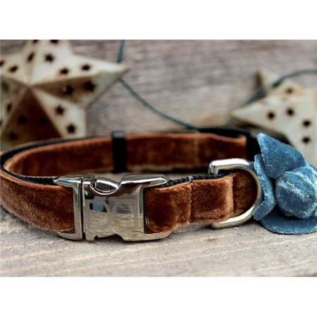Camellia Blue Velvet Dog Collar (Diva Dog Boutique)