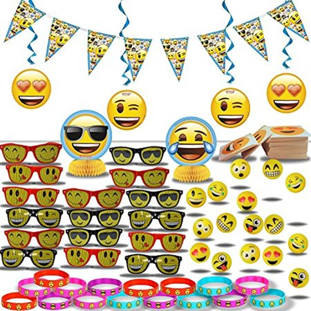 Emoji Party Decorations and Favors for 16: Banner + Swirls + Center Pieces + Sunglasses + Tattoos + Bracelets + Hi-Bounce Balls - All Emoji Theme