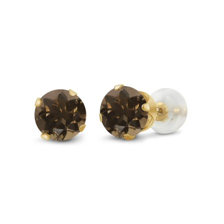 - 1.60 Ct Round 6mm Brown Smoky Quartz 10K Yellow Gold Stud Earrings