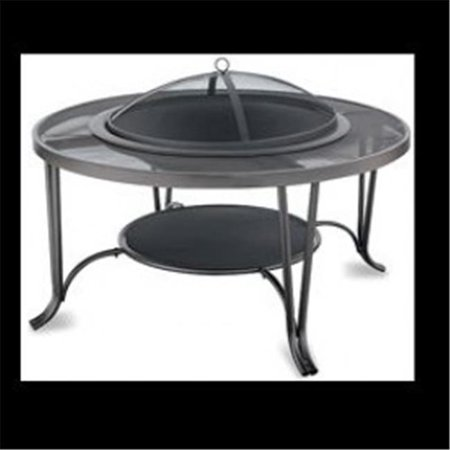 (BLACK WOOD OUTDOOR FIREBOWL WITH MESH HEARTH)