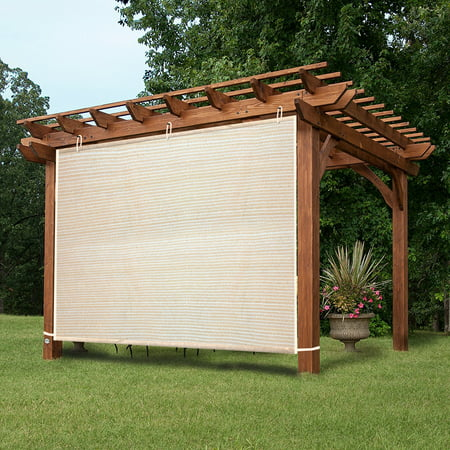 Ez2hang Outdoor Shade Cloth New Design Vertical Side Wall Panel For Patio Pergola Window 6x6ft Wheat