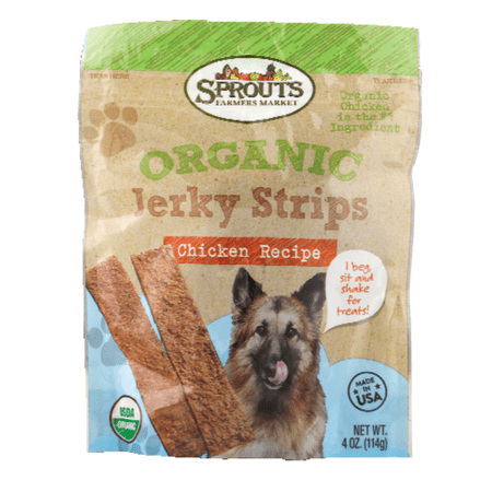 Sprouts Organic Chicken Flavor Jerky Strips Dog Treats, 4 OZ