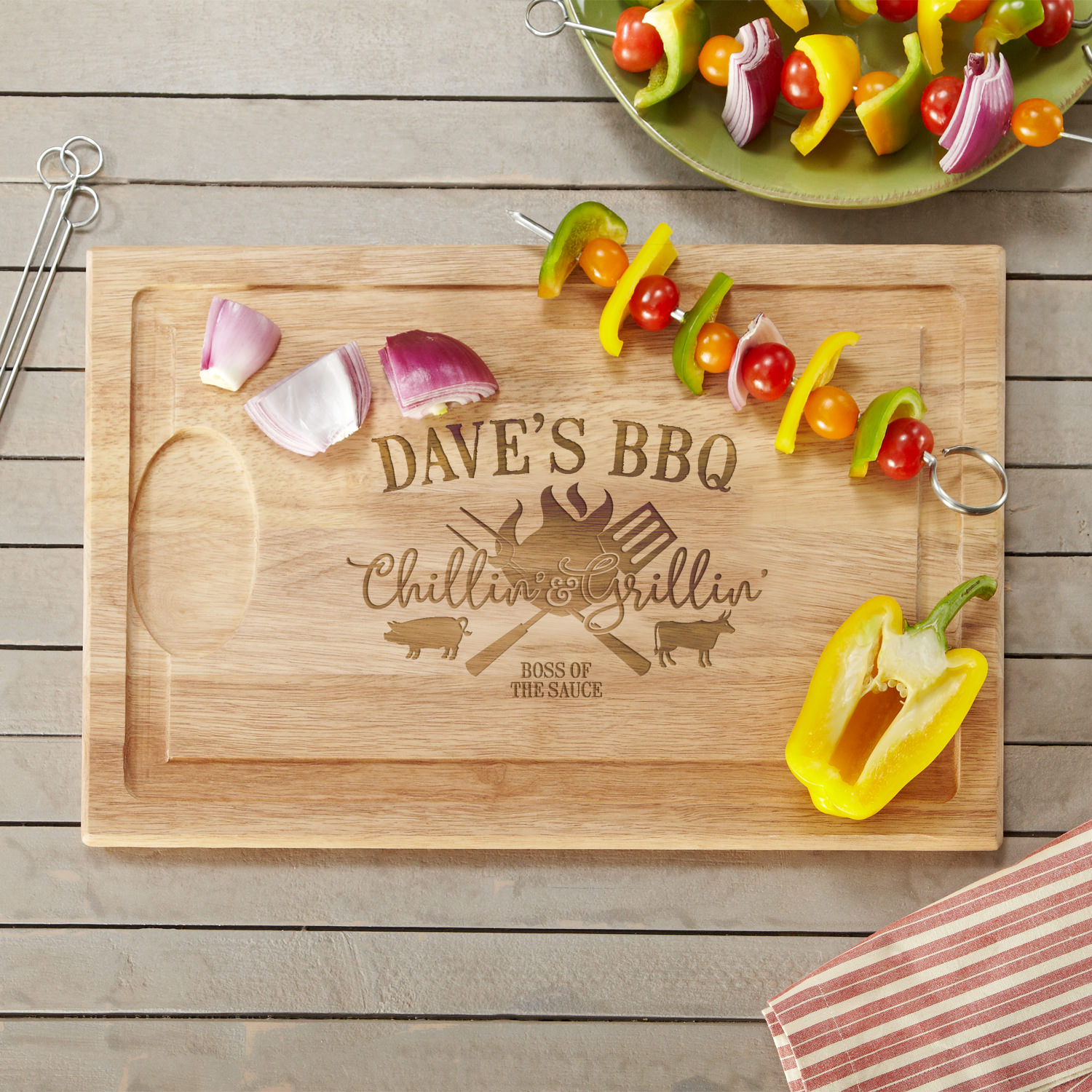 Personalized Chillin' & Grillin' Wood Cutting Board-Available in 2 Sizes