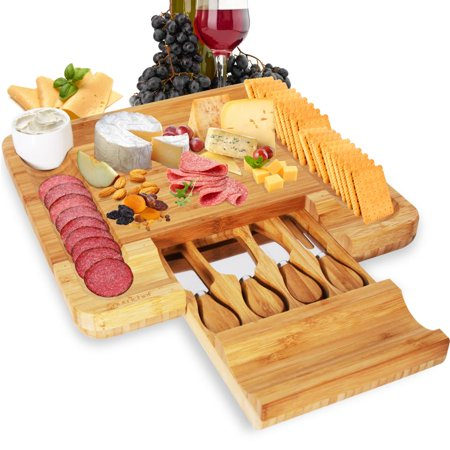 NutriChef PKCZBD10 - Bamboo Cheese Cutting Board Set - Flat Wood Serving Platter for Picnic Food or Wine - Rectangle Fruit and Meat Plate Kit w/ Bowl, Closing Drawer Tray, 4 Stainless Steel Knives ()