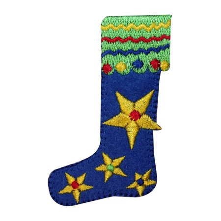 ID 8162B Christmas Stocking Patch Mantel Decoration Embroidered Iron On - Christmas Mantel Decorations