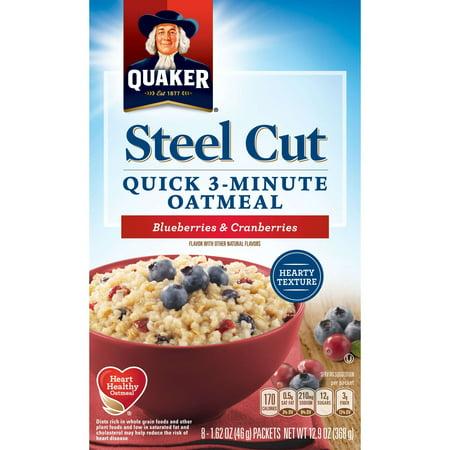 Classic Oatmeal ((4 Pack) Quaker Steel Cut 3-Minute Oatmeal Blueberries & Cranberries, 8 Ct)