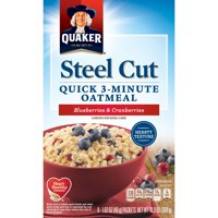 Quaker Steel Cut 3-Minute Oatmeal Blueberries & Cranberries, 8 Ct