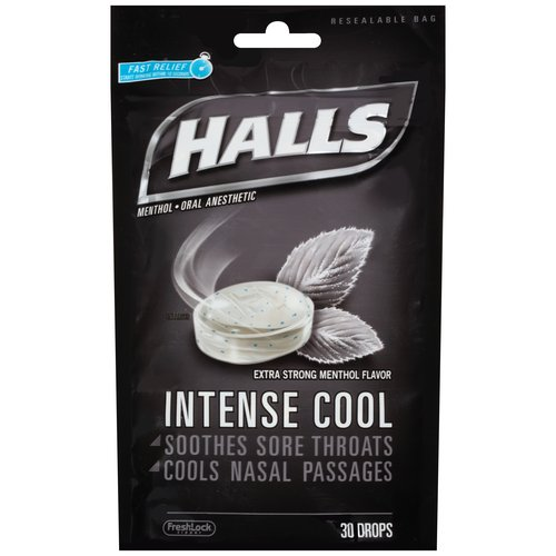 Halls Intense Cool Extra Strong Menthol Flavor Menthol Oral Anesthetic Drops, 30 ct