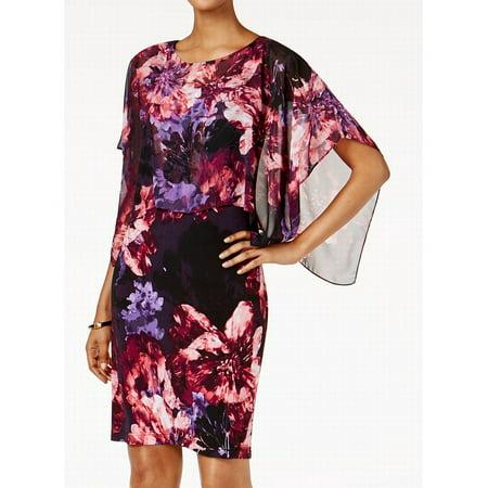 SLNY NEW Pink Womens Size 18 Floral Chiffon Cape Overlay Sheath Dress