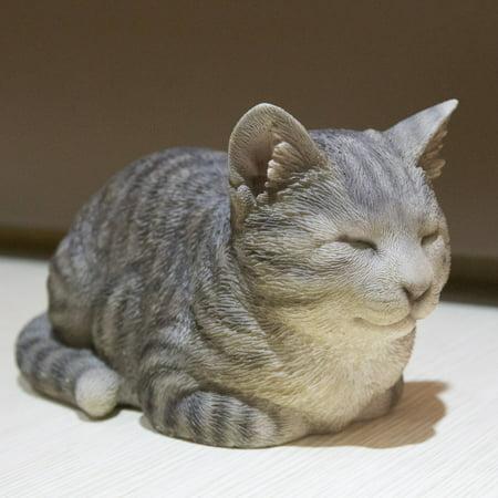 SLEEPING GREY TABBY CAT STATUE ()