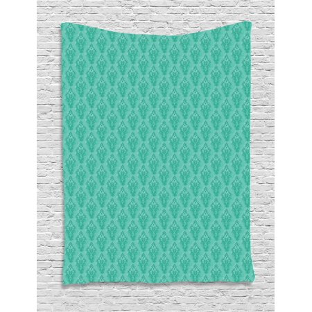 Damask Tapestry, Abstract Old Fashioned Pattern with Grungy Looking Floral Motifs Eastern Details, Wall Hanging for Bedroom Living Room Dorm Decor, 40W X 60L Inches, Sea Green, by Ambesonne