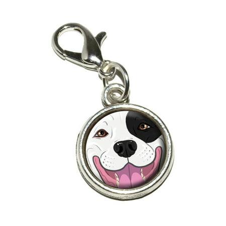 Black and White Pit Bull Face - Pitbull Dog Pet Bracelet Charm](Dog Charms For Bracelets)
