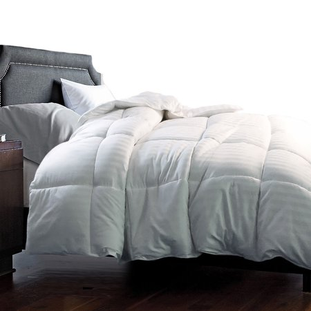 Hotel Grand 350 Thread Count Damask White Goose Down Blend Comforter -