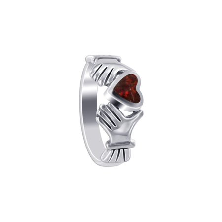 Gem Avenue Heart Shape 925 Sterling Silver Red Solitaire Ring