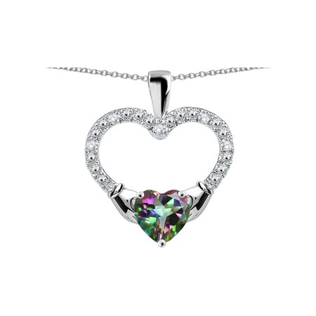 Hands Holding Heart Rainbow Mystic Topaz Claddagh Pendant Necklace