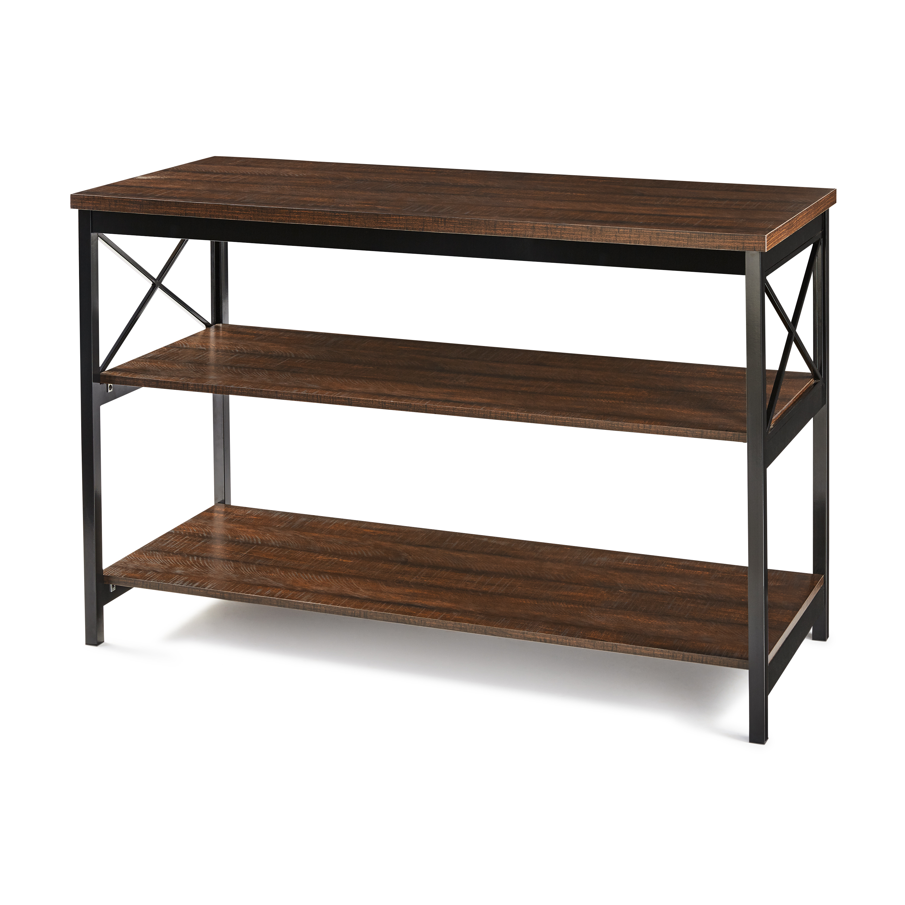 "Mainstays 3-Shelf TV Console Table for Most 42"" TVs, Sawcut Brown"