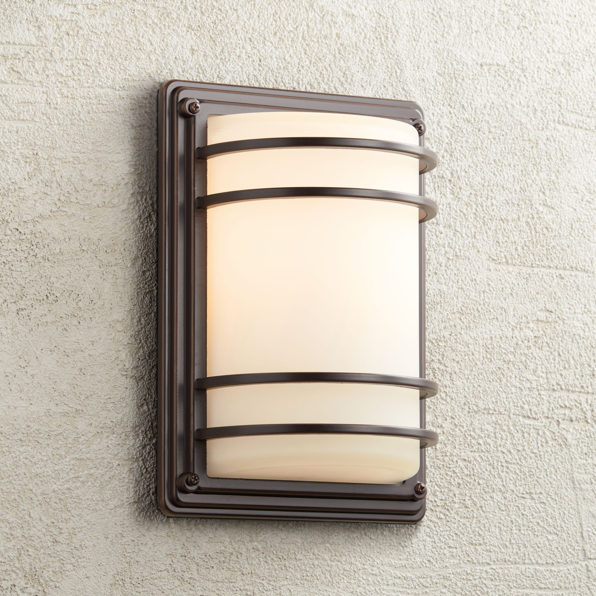 John Timberland Modern Outdoor Wall Light Fixture Rubbed Bronze 11 Opal Gl Sconce For Exterior House Porch Patio Deck