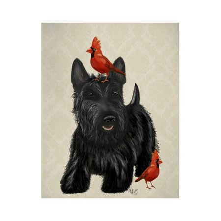Scottie Dog and Red Birds Print Wall Art By Fab Funky