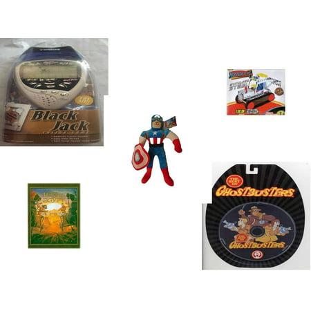 Children's Gift Bundle [5 Piece] -  Black Jack Casino Handheld  - Stainless Steel Model Kit Tractor  - Marvel Avengers Captain America  16