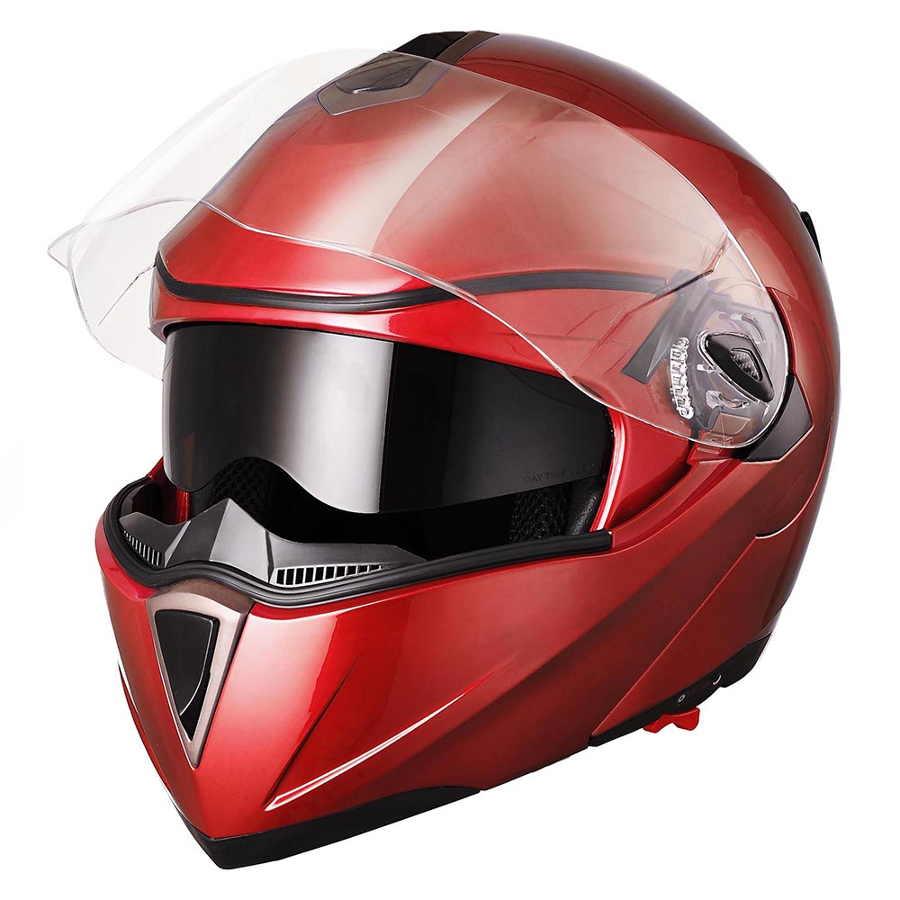 Yescom Motorcycle Helmet Full Face Flip up Modular DOT Approved Dual Visor Motocross