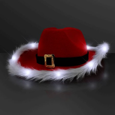 LED Flashing Christmas Cowboy Red Santa Clause Western Holiday Hat by Blinkee