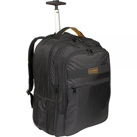 A  Saks Expandable Trolley Laptop Backpack  Black