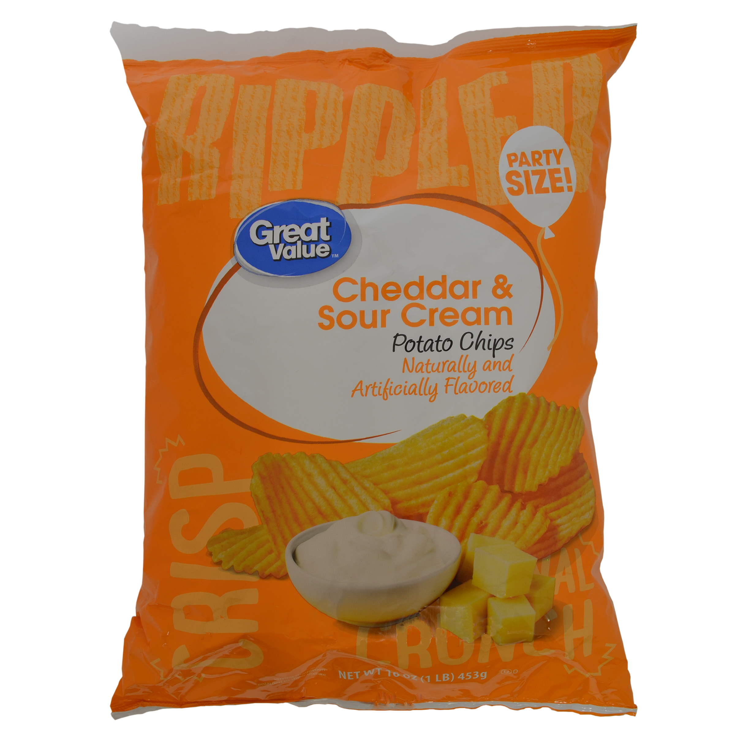 Great Value Party Size Cheddar & Sour Cream Potato Chips, 16 Oz.