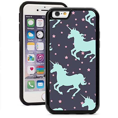For Apple iPhone Shockproof Impact Hard Soft Case Cover Galloping Unicorns (Black for iPhone 7 Plus)