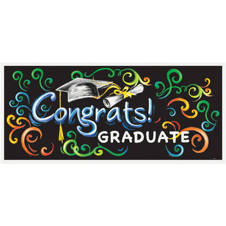 Plastic Chalkboard Graduation Wall Banner, 5 x 2.25 ft, 1ct
