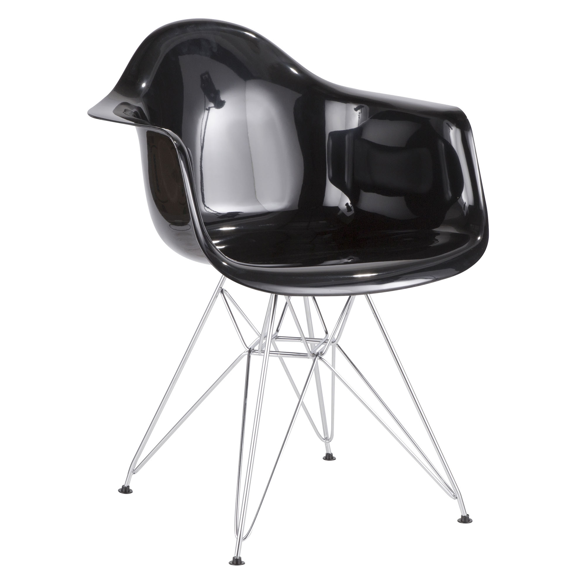 Neo Flair Contemporary Dining/Accent Chair in Black and Chrome by LumiSource