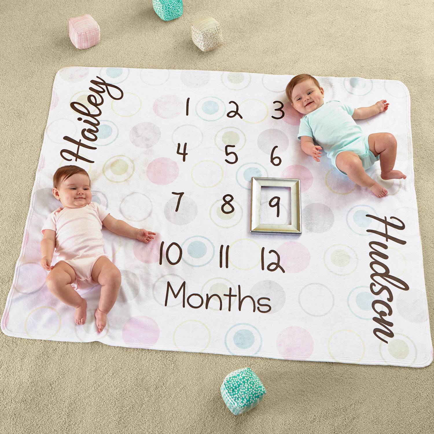Personalized Twin Monthly Milestone Plush Blanket
