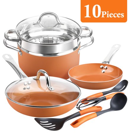 SHINEURI Non-stick 10 Pieces Copper Pots and Pans Cookware Set, 8