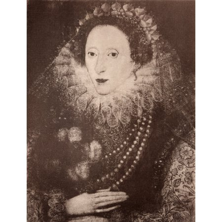 Queen Elizabeth I Of England 1533-1603 After A Painting In The Royal Collection Attributed Only To British School From History Of Hampton Court Palace In Tudor Times By Ernest Law Published London 188 - Hampton Halloween Times