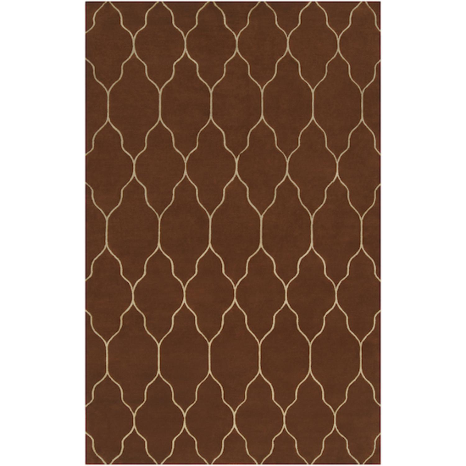 5' x 8' Mocha Trellis Sand Beige and Russett Brown Wool Area Throw Rug