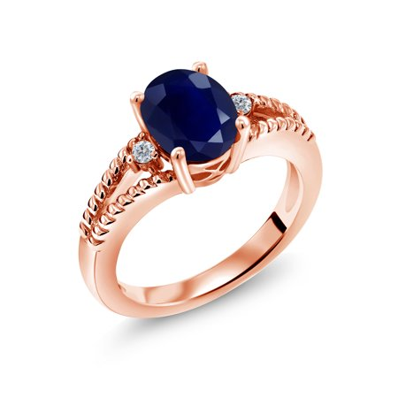 34eb155d57040f Gem Stone King - 2.55 Ct Oval Blue Sapphire White Diamond 18K Rose Gold  Plated Silver Ring - Walmart.com