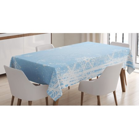 Winter Tablecloth, Abstract Christmas Themed Snowflake Pattern on the Soft Colored Backdrop Image, Rectangular Table Cover for Dining Room Kitchen, 60 X 90 Inches, Pale Blue White, by - Winter Themed Table Decorations