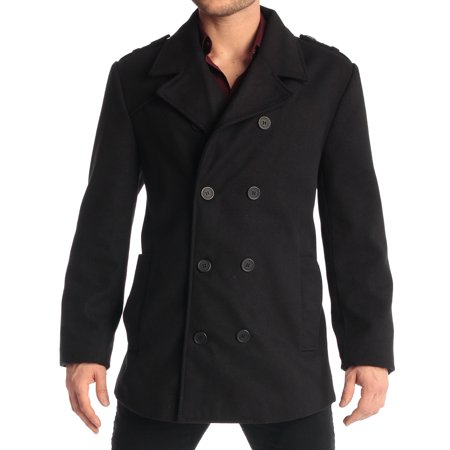 Mens Hooded Wool - Jake Men's Double Breasted Pea Coat Wool Blend