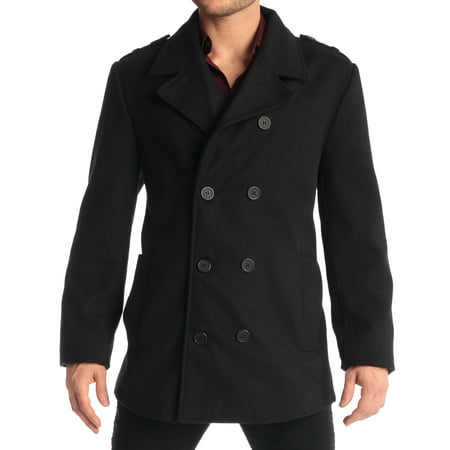 Belted Textured Wool Blend - Jake Men's Double Breasted Pea Coat Wool Blend