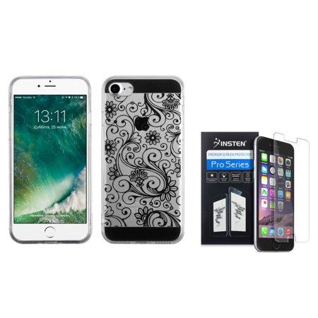 Insten For Apple iPhone 8 / iPhone 7 - Clear Screen Protector + Four-leaf Clover Gel Rubber TPU Case - (Four Leaf Clover Gem)