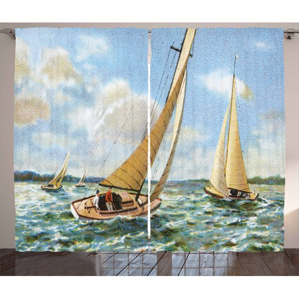 Vintage Boat Curtains 2 Panels Set Sailing In Wavy Windy Sea Vintage Painting Style Picture Ocean Hobbies Artwork Window Drapes For Living Room Bedroom 108w X 96l Inches Multicolor By Ambesonne