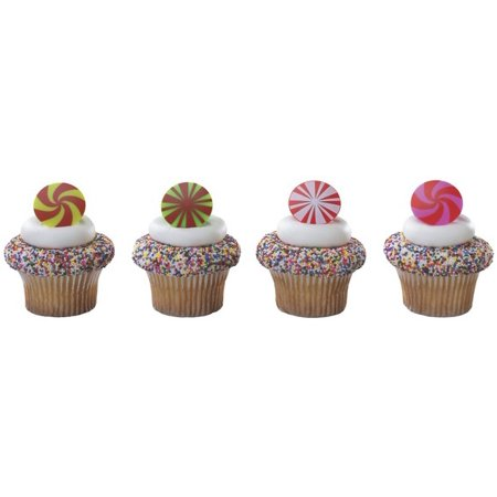 Peppermint Treats Cupcake Decoration Rings 12 ct