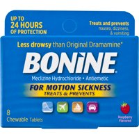 Bonine Antiemetic Chewable Motion-Sickness Relief Tablets, Raspberry - 8 ct