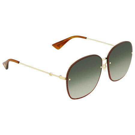 Gucci Green Gradient Oval Sunglasses GG0228S 001 63