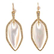 De Buman  18k Yellow Gold Plated Mother of Pearl Earrings