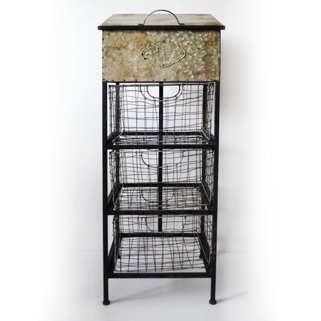 Emerald Home Lexington Antique Metal Accent Cabinet with Three Rustic Basket Drawers And Lift Top Storage