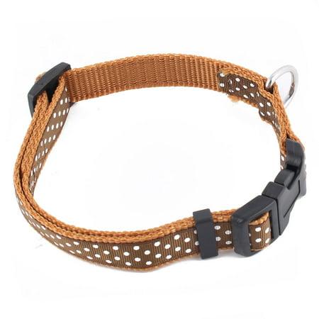 Pet Dog Nylon Polka Dot Pattern Adjustable Buckle Strap Belt Neck Collar Brown