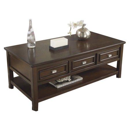Ashley Larimer Rectangular Coffee Table with Drawers in Dark Brown - Ashley Larimer Rectangular Coffee Table With Drawers In Dark Brown