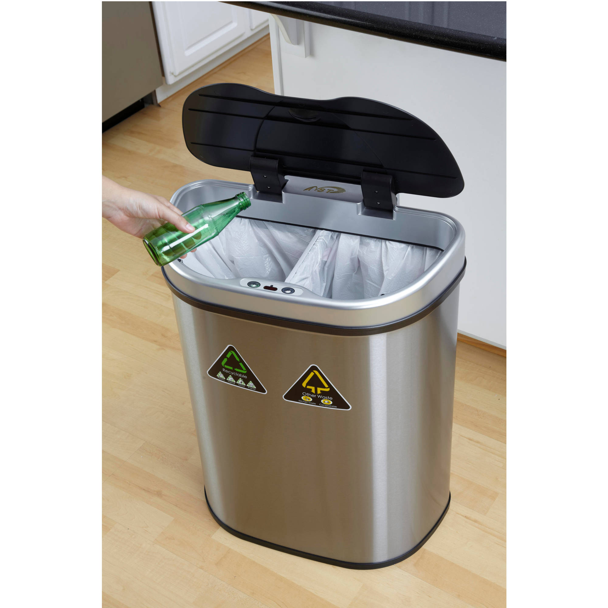 automatic trash can recycle bin combo touchless lid stainless motion sensor new 692625038911 ebay. Black Bedroom Furniture Sets. Home Design Ideas